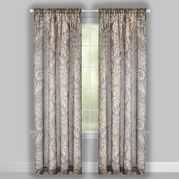 "84"" Floral Paisley Sheer Rod Pocket Window Curtains, Set of 2 view 2"