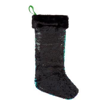 Peacock Green/Black Sequined Stocking view 2