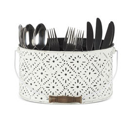 "11"" White Embossed Oval Utensil Caddy view 1"
