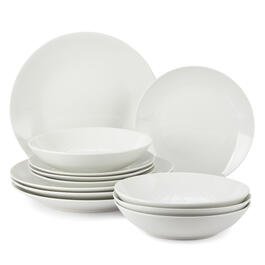 Bistro Basics 12-Piece Ceramic White Dinnerware Set view 1