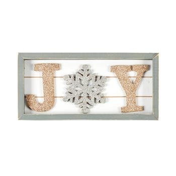 "17.75"" Glittery ""Joy"" Wood Sign view 1"