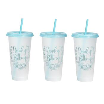 "7"" ""Drink Up Buttercup"" Tumbler To-Go Cups, Set of 6"