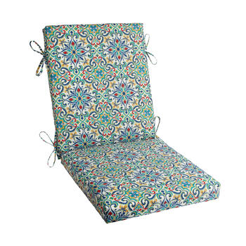 Multicolor Damask Indoor/Outdoor Hinged Chair Pad view 1