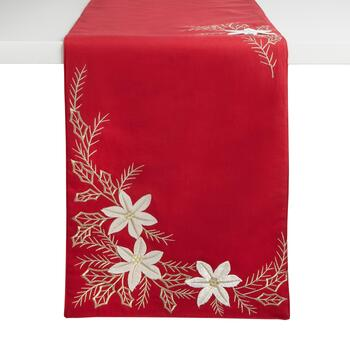 "72"" Red/White Flower Embellished Cotton Blend Table Runner"