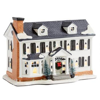 "7"" Black/White Miniature Colonial Lighted Home"