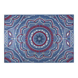 Blue Red Medallion All Weather Area Rug View 1