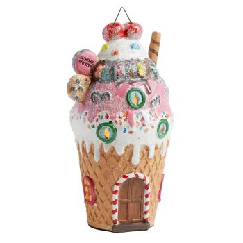 "9"" Sundae Shoppe Lighted Porcelain Decor"