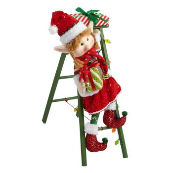 "17"" Elf Girl on a Ladder Decor"