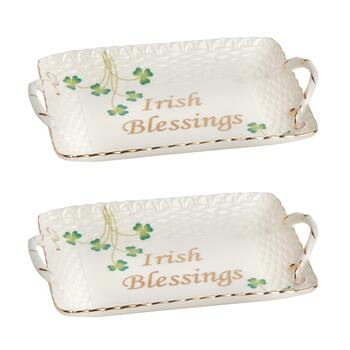 """Irish Blessings"" Shamrock Serving Trays, Set of 2"
