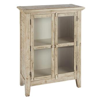 Acacia Wood Glass Door Cabinet