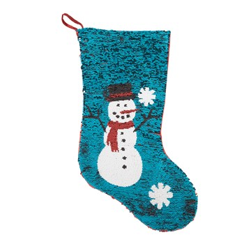 Winter Snowman Color-Changing Sequined Stocking view 2