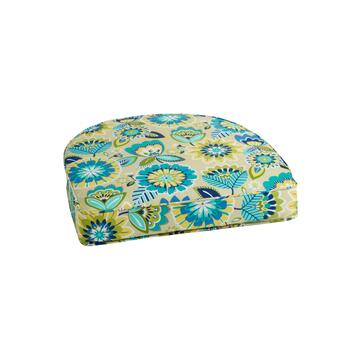 Yellow/Blue Floral Indoor/Outdoor Gusseted Seat Pad