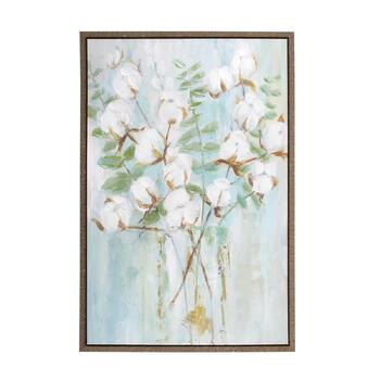 "24""x36"" White Flowers Framed Canvas Wall Art"