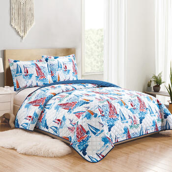 Nautical Boats Reversible Quilt Set view 1