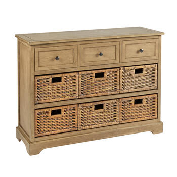 Hannah Light Brown 3-Drawer/6-Basket Apothecary Storage Cabinet view 1