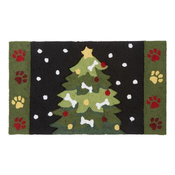 Paws and Bones Christmas Hand-Hooked Door Mat