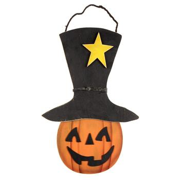 "23.75"" Top Hat Jack-o-Lantern Wood Wall Sign"