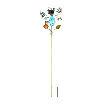 "38"" Blue Glass Bug Solar Garden Stake"