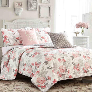 Emily Floral/Geo Reversible Quilt Set, 5-Piece view 1