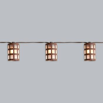 10' Brown Square Caged Indoor/Outdoor String Lights
