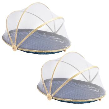 Bamboo Oval Covered Food Serving Baskets, Set of 2