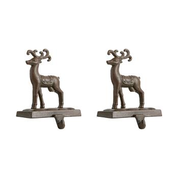 "7.5"" Reindeer Scroll Metal Stocking Holders, Set of 2"
