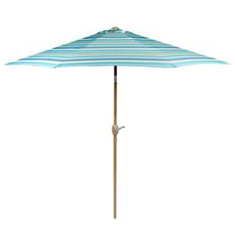 9' Green/Blue/Tan Striped Crank/Tilt Market Umbrella