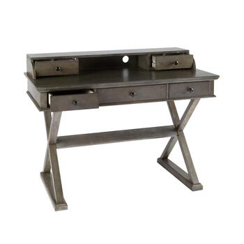 Gray X-Side Desk with Hutch view 2