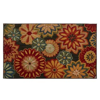 3'x5' Mohawk Home Black/Red Floral Wool Accent Rug