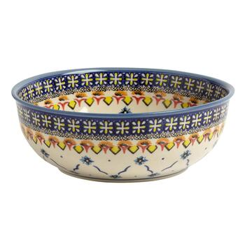 Polish Pottery Blue Linked Florals Ceramic Mixing Bowl