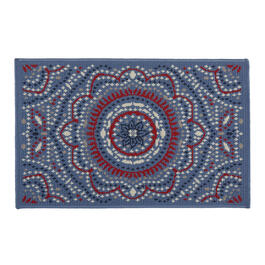 Blue Red White Medallion All Weather Rug View 1