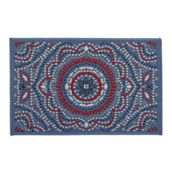 Blue/Red/White Medallion All-Weather Rug view 1