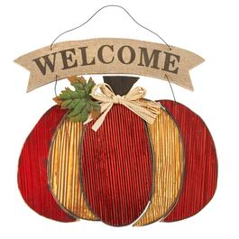 """Welcome"" Wood Pumpkin Hanging Decor"