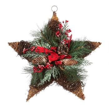 "20"" Snowy Pinecones and Berries Twig Star Wall Hanger"