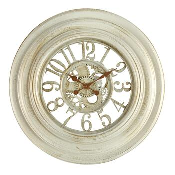 "30"" White/Gold Exposed Gears Wall Clock"