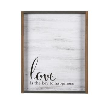 "16""x20"" ""Love Is the Key to Happiness"" Wood Wall Decor"