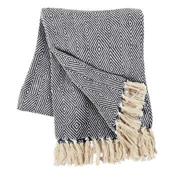 Diamond Pattern Cotton-Blend Throw with Fringe