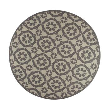 Gray Medallion Pattern All-Weather Area Rug view 2 view 3 view 4