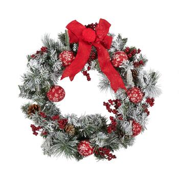 "23"" Red Bow and Knitted Ornaments Artificial Wreath"