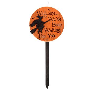 "36"" ""Waiting For You"" Witch Wood Circle Yard Stake"