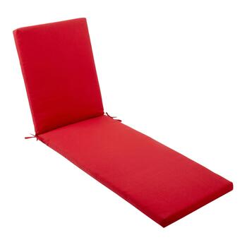 Solid Red Indoor/Outdoor Chaise Chair Pad