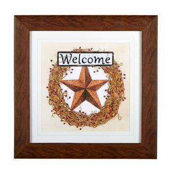 "18"" ""Welcome"" Star Wreath Framed Wall Decor"