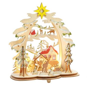 "11"" LED Cutout Wooden Christmas Tree with Forest Animals"