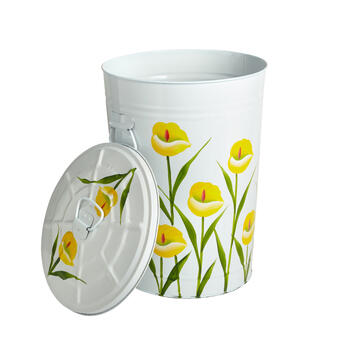 Yellow Flowers Painted Garden Trash Can view 1