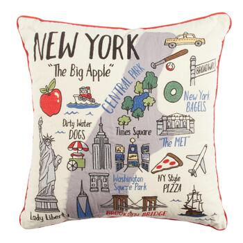 "Grey Whale Outfitters™ ""The Big Apple"" New York Square Throw Pillow"