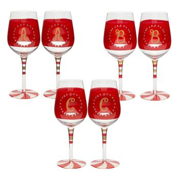 Hand-Painted Monogram Peppermint Wine Glasses, Set of 2