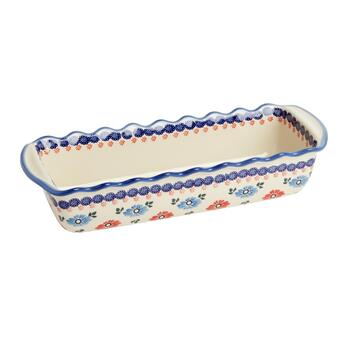 Polish Pottery Floral Large Fluted Loaf Pan
