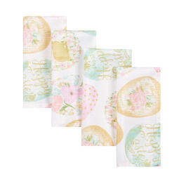 """Happy Easter"" Colored Eggs Fabric Napkins, Set of 8 view 1"