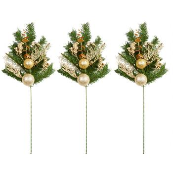 "15"" Gold Ornament and Pine Needle Stakes, Set of 3"