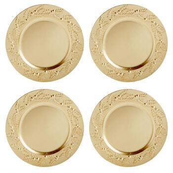 Gold Holly Berry Charger Plates, Set of 4